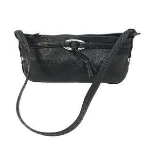Brighton Black Pebbled Leather Small Shoulder Bag